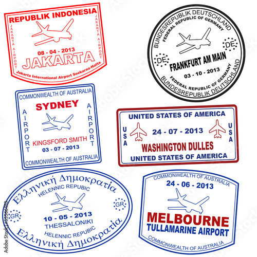 Set of passport grunge stamps
