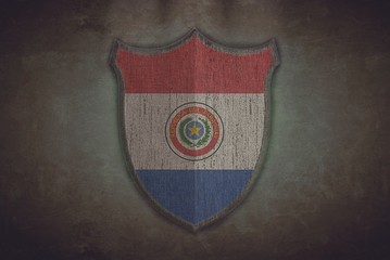 Shield with Paraguay flag.