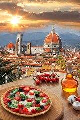 Florence with Cathedral and Italian pizza in Tuscany, Italy