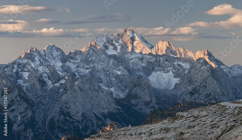 Golden painted summits of Dolomity at dawn - Panorama