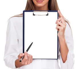 Doctor woman with empty document