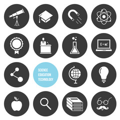 Vector Science Education and Technology Icons Set