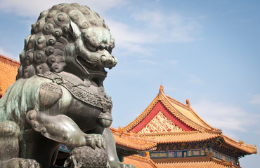 lion statue in front of Gate of Supreme Harmony, Forbidden City