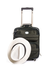 Small Green Suitcase with a White Straw Hat Isolated