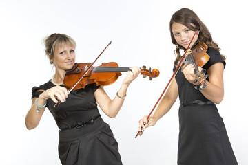 Mother daughter violin duet