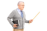 Male teacher holding a wand and a book