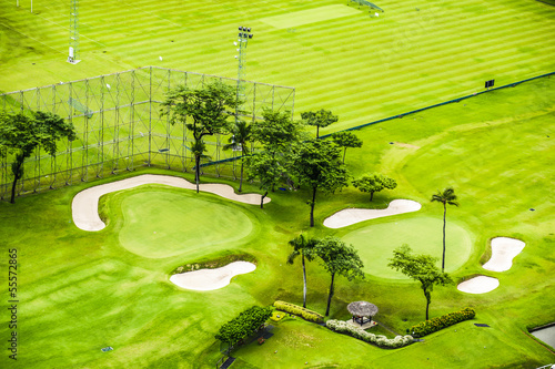 Bird eyes view golf green