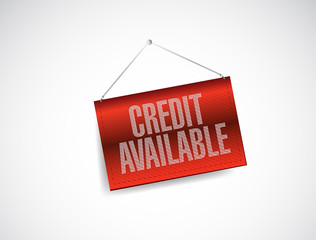 credit available hanging banner sign illustration