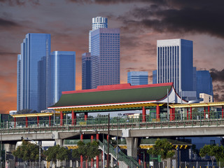 Downtown Los Angeles Chinatown Station Sunset