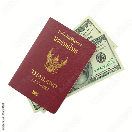 thailand passport with dollars