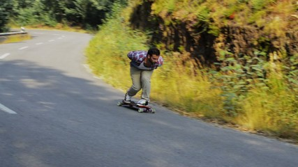 Skateboarding training downhill