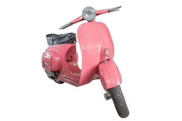 pink scooter classic motorcycle isolate on white with clipping p