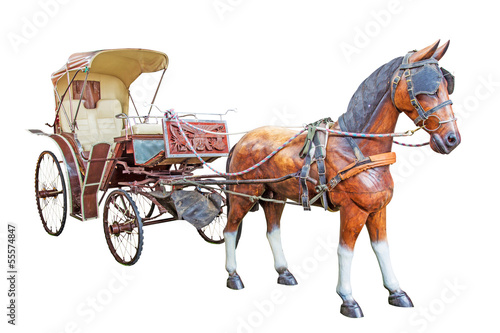wood horse and carriage isolate on white background with clippin