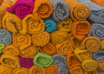 Colourful towels at market