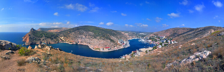 Bird-eye panoramic view of Balaklava Bay, Crimea