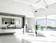 Modern white bathroom interior with huge windows and scenic view