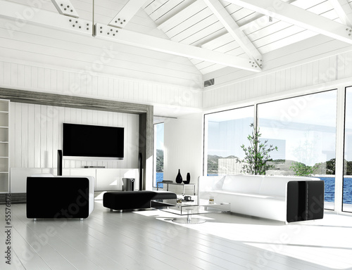 modern white living room with huge windows