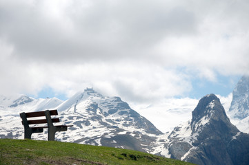 Bench above Schwarzsee looking to Gornergrat in Swiss Alps