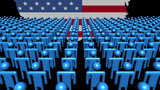 USA map flag with foreground of many abstract people animation