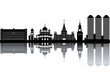 Moscow skyline - black and white vector illustration