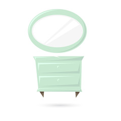 Bedside table and mirror isolated on a white backgrounds