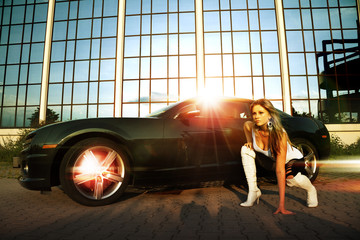 beautiful woman and sport car