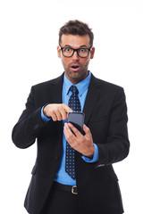 Shocked businessman got a bad message