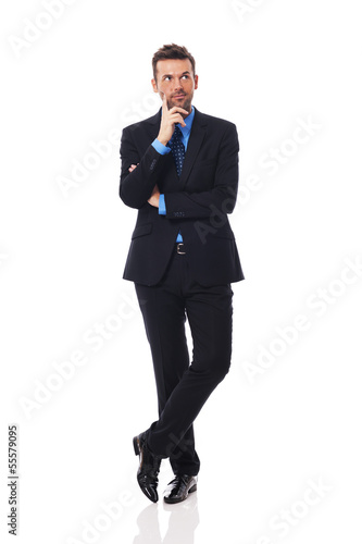 Handsome businessman thinking about something