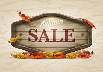 Wooden autumn sale signboard