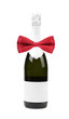 Bottle of champagne and red bow tie.