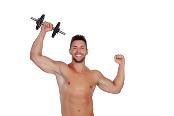 Muscled guy lifting weights