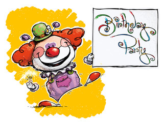 Clown Holding a Birthday Party Card