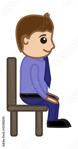 Man Sitting on Chair - Office Corporate Cartoon People