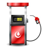 Gas station pump with fuel nozzle