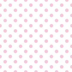 Seamless vector pattern pastel pink polka dots white background