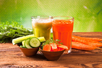 carrot and cucumeber fresh juice drink