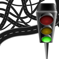 Traffic background with traffic lamp and roads
