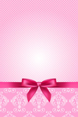 Vector pink wallpaper with bow