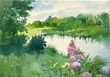 Watercolor Landscape Collection: Near the River
