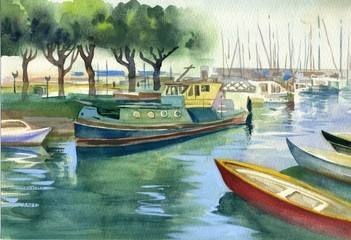 Watercolor Landscape Collection: Boats