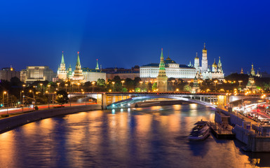 night view of Kremlin and Moscow River in Moscow. Russia