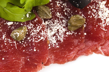 Beef carpaccio with rucola and parmesan
