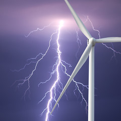 wind turbine on a background of sky with lightning
