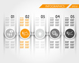 orange timeline with business ring icons