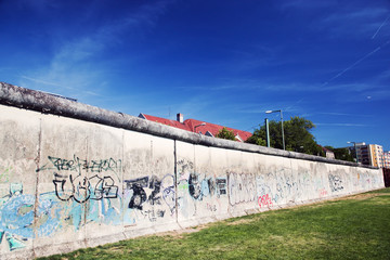 Berlin Wall Memorial with graffiti. Berliner Mauer