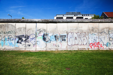 Berlin Wall Memorial with graffiti. The Gedenkstatte