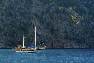 Turkish boat on blue water, a cruise in caicco