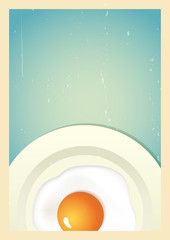 Scrambled egg on plate. Retro background