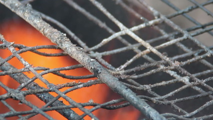 used barbecue grill at fire