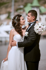 bride and groom at wedding day